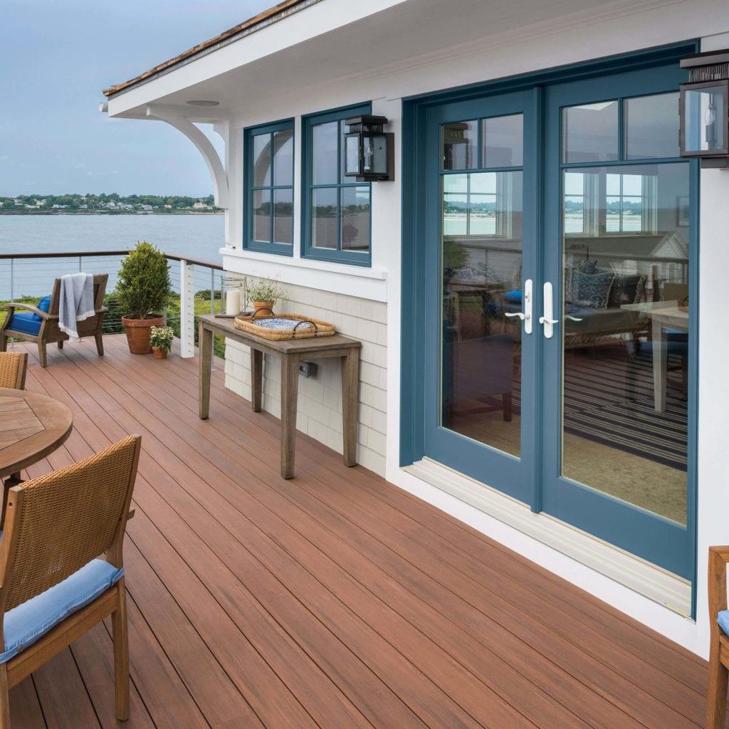 blue-framed patio doors