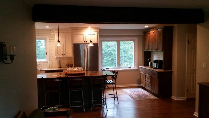 Upgraded kitchen with new windows by Twin Brook Construction